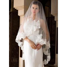 Walzer Braut Schleier Tüll Einschichtig Klassische Art mit Spitze Saum Brautschleier