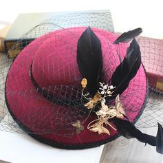 Damer' Vackra Och/Gorgeous Bomull med Fjäder/Tyll/imitation fjäril Basker Hat