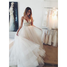 Empire Tulle Sleeveless Deep V Neck Court Train Wedding Dresses