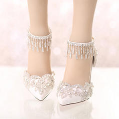 Women's Closed Toe Pumps Stiletto Heel Leatherette With Rhinestone Wedding Shoes