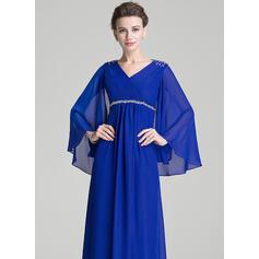 Forme Princesse Col V Longueur ras du sol Mousseline Robe de mère de la mariée avec Plissé Brodé Paillettes (008072725)