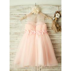 Corte A/Princesa Hasta la rodilla Vestidos de Niña Florista - Tul Sin mangas Escote redondo con Flores (010104931)