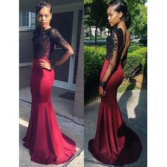 Luxurious Jersey Evening Dresses Trumpet/Mermaid Sweep Train Scoop Neck Long Sleeves