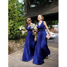 A-Line/Princess Satin Chiffon Bridesmaid Dresses Ruffle V-neck Sleeveless Floor-Length (007144958)