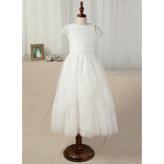 A-Line/Princess Ankle-length Flower Girl Dress - Taffeta/Lace Short Sleeves Scoop Neck With Sash