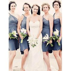 A-Line/Princess One-Shoulder Short/Mini Bridesmaid Dresses With Ruffle