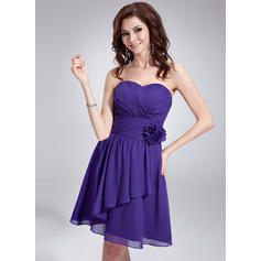 Knee-Length A-Line/Princess Sleeveless Chiffon Bridesmaid Dresses (007051872)