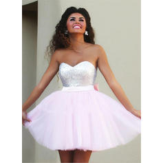A-Line/Princess Sweetheart Short/Mini Tulle Homecoming Dresses