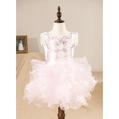 Scoop Neck A-Line/Princess Flower Girl Dresses Organza Ruffles/Beading Sleeveless Knee-length