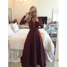 A-Line/Princess V-neck Satin Long Sleeves Floor-Length Evening Dresses