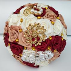 """Brautsträuße/Brautjungfer Blumensträuße/Blumen Geschenke Rund Hochzeit/Party/Lässige Kleidung Satin 7.09""""(Ungefähre 18cm) Brautstrauß"""