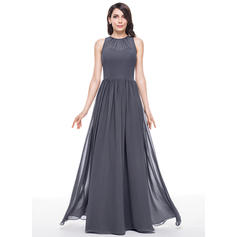 Scoop Neck A-Line/Princess Chiffon Sleeveless Bridesmaid Dresses