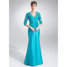 Trumpet/Mermaid Taffeta 1/2 Sleeves V-neck Floor-Length Zipper Up Mother of the Bride Dresses