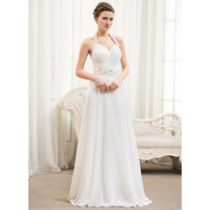 Sleeveless General Plus Halter With Chiffon Wedding Dresses (002054367)