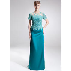 Beading Sequins Scoop Neck Delicate Charmeuse Lace Mother of the Bride Dresses (008005926)