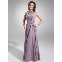Chiffon Sleeveless Mother of the Bride Dresses Scoop Neck A-Line/Princess Ruffle Beading Floor-Length