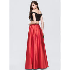 Corte de baile Fuera del hombro Hasta el suelo Satén Vestido de baile de promoción con Cuentas (018146359)
