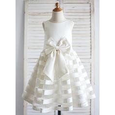 Scoop Neck A-Line/Princess Flower Girl Dresses Satin Sleeveless Tea-length (010211630)