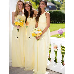 Sweetheart One-Shoulder A-Line/Princess Chiffon Sleeveless Bridesmaid Dresses (007145028)