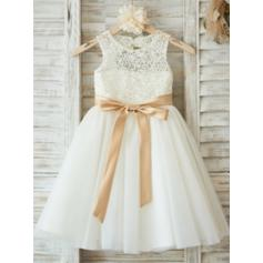 Magnificent Knee-length A-Line/Princess Flower Girl Dresses Scoop Neck Tulle/Lace Sleeveless