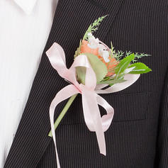 "Boutonniere/Men's Accessories Round Wedding/Party Artificial Silk 3.54""(Approx.9cm) Wedding Flowers"