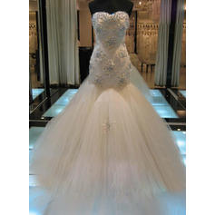 Sleeveless Strapless Tulle Trumpet/Mermaid Wedding Dresses (002147798)