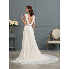 A-Line V-neck Sweep Train Chiffon Wedding Dress (002153444)