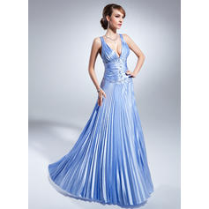 A-Line/Princess Charmeuse Sleeveless V-neck Floor-Length Zipper Up at Side Mother of the Bride Dresses (008213129)