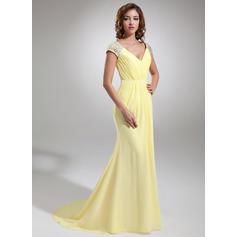 Flattering V-neck Trumpet/Mermaid Chiffon Evening Dresses (017020987)
