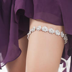 "Garters Women/Bridal Wedding/Special Occasion Ribbons With ""A"" Level Rhinestone/Silver Plated Garter"