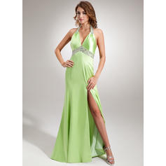Stunning Halter Trumpet/Mermaid Charmeuse Evening Dresses (017005605)