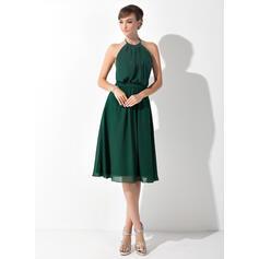 A-Line Halter Knee-Length Chiffon Bridesmaid Dress With Ruffle Bow(s) (007025846)