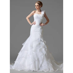 Elegant One Shoulder Trumpet/Mermaid Wedding Dresses Chapel Train Satin Organza Sleeveless (002211157)