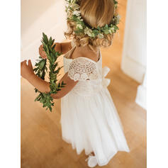 Sexy Ankle-length A-Line/Princess Flower Girl Dresses Square Neckline Chiffon/Lace Short Sleeves
