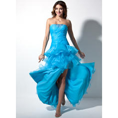 Organza Sleeveless Sheath/Column Prom Dresses Sweetheart Ruffle Beading Split Front Cascading Ruffles Floor-Length Asymmetrical