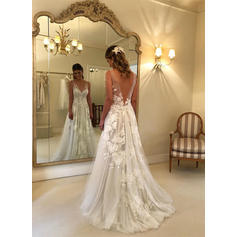 V-neck A-Line/Princess Wedding Dresses Tulle Appliques Sleeveless Sweep Train