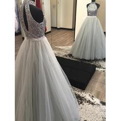 A-Line/Princess Halter Floor-Length Tulle Evening Dresses With Beading (017217105)