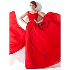 A-Line/Princess V-neck Chiffon Sleeveless Watteau Train Ruffle Beading Evening Dresses