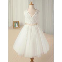 Vestidos princesa/ Formato A Comprimento médio Vestidos de Menina das Flores - Cetim/Tule Sem magas Decote redondo com Cintos/Curvado (010130913)