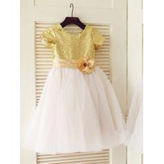 A-Line/Princess Short Sleeves With Tulle/Sequined Flower Girl Dresses