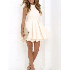 High Neck Short/Mini A-Line/Princess Stretch Crepe Cocktail Dresses