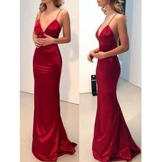Sheath/Column V-neck Floor-Length Evening Dresses (017218530)