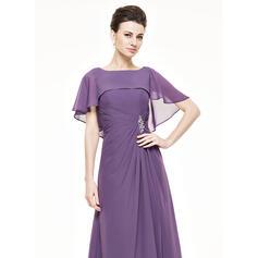 Forme Princesse Col rond Longueur mollet Mousseline Robe de mère de la mariée avec Plissé Brodé Paillettes (008062543)