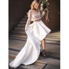 Elegant Satin Wedding Dresses A-Line/Princess Asymmetrical Scoop Long Sleeves (002213526)