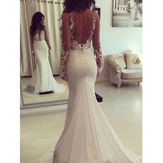 Simple Scoop Trumpet/Mermaid Wedding Dresses Court Train Chiffon Long Sleeves