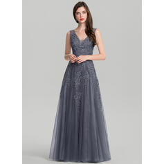 A-Line/Princess V-neck Floor-Length Tulle Evening Dress With Sequins (017116320)