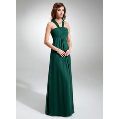 Empire V-neck Floor-Length Chiffon Bridesmaid Dress With Ruffle