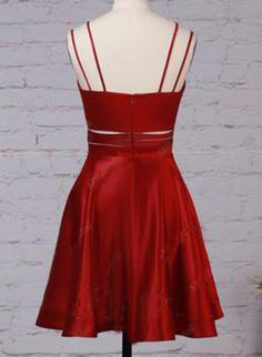 Magnifique Robes de soirée étudiante Forme Princesse Court/Mini Col V Sans manches (022216385)