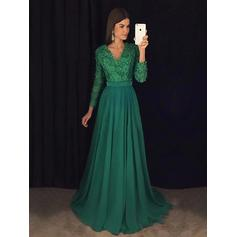 Long Sleeves A-Line/Princess Chiffon Lace Beading Sequins Prom Dresses (018148442)