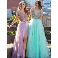 A-Line/Princess V-neck Floor-Length Tulle Evening Dresses With Beading Split Front